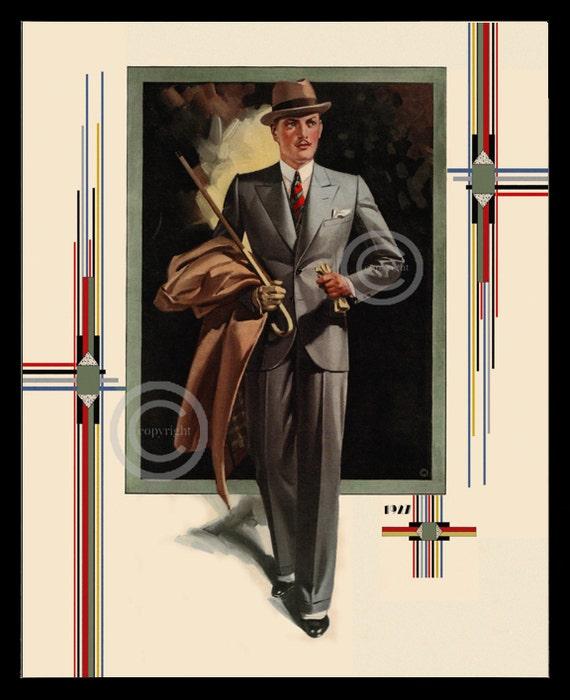 art deco mens fashion print 1920s man wearing suit vintage etsy