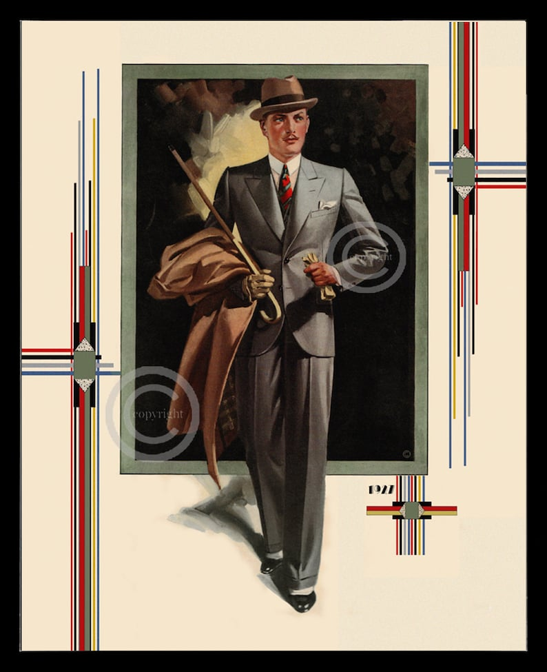 Art Deco Mens Fashion Print 1920s Man wearing Suit Vintage  ff4e67d7def4