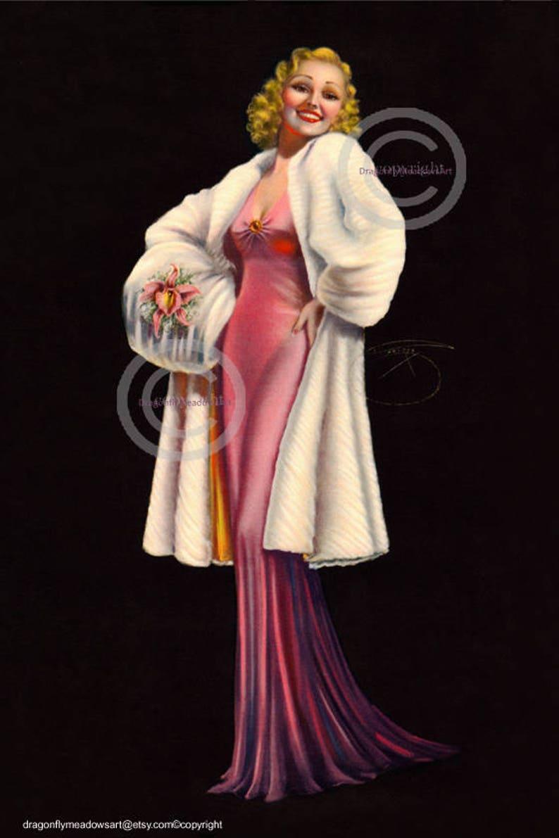 9976abacc Gorgeous Glamour Girl Print Billy DeVorss Lady wearing pink