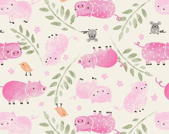 Snuggle Flannel fabric pigs