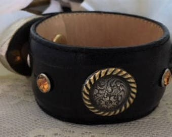 Re-Purposed Leather Cuff crafted from a Brighten Belt