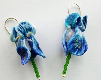 MTO - 1 (one) pair iris flower earrinds with silver earwire / glass/ lampwork/summer