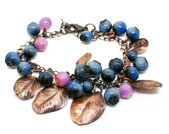 Blueberry bracelet with copperplated natural leaves/ OOAK/ copper jewerly/ Nature / Forest