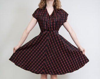 7f18e8be7fee 1950s Rockabilly dress /Red and black checked short sleeve dress/ Vintage  secretary housewife dancing dress • Size Small •