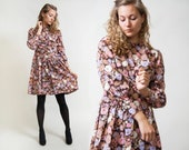 60s Floral Dress Long-sleeve mini Dress Button Up Secretary Dress Size Small to Medium