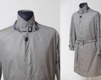 5627ffde8b Men Grayish Green Trench Coat . Vintage 80s/90s Duster Coat Mac Coat  Detective Rain Coat Topcoat Long Jacket Outerwear . size Large