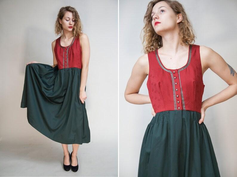 4672b9e1d97 Red and Green DIRNDL Dress  Austrian Sleeveless Mid-Calf