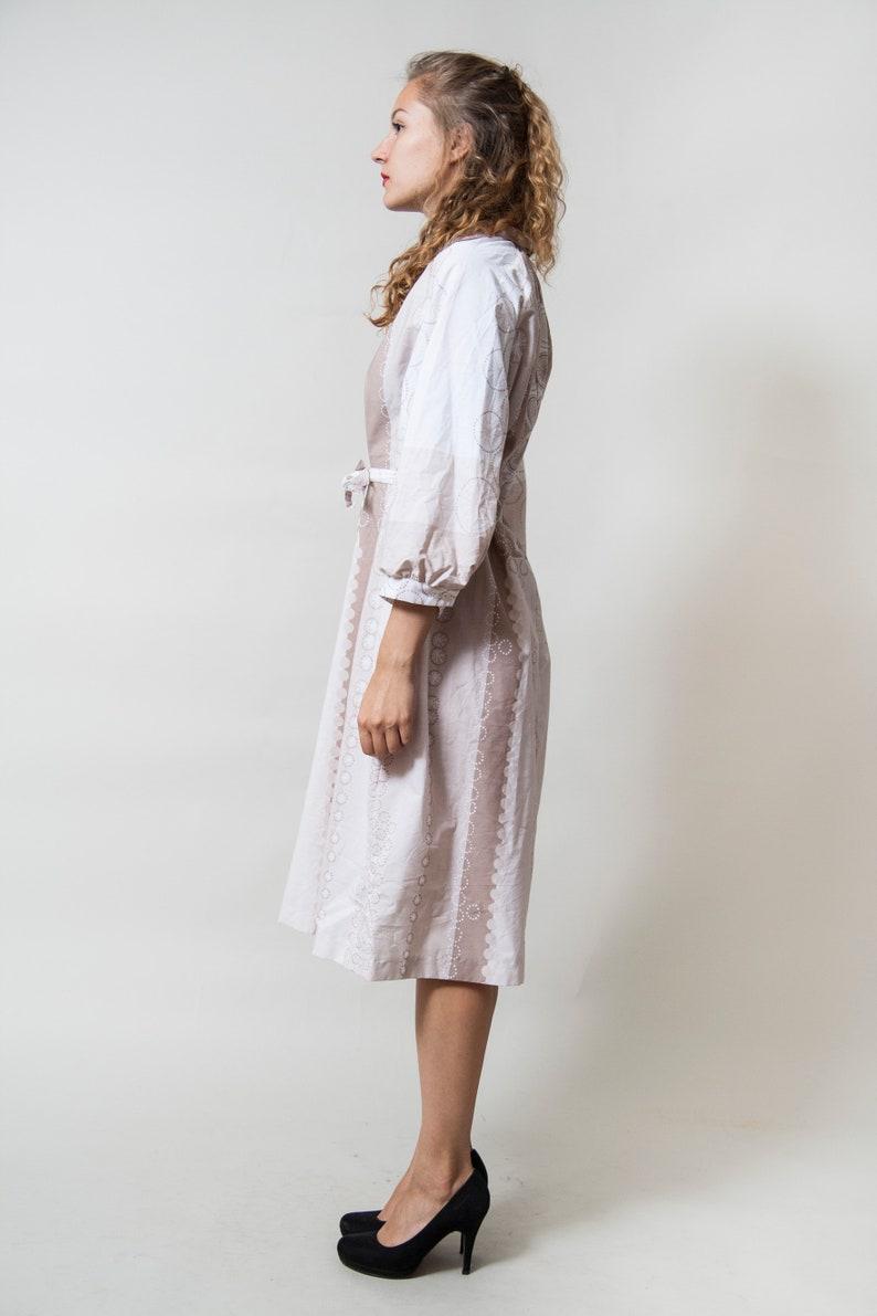 White and Beige Midi Dress Medium Sleeve Dress with Belt Subtle Geometric Print Collared Elegant Dress \u2022 Size Medium to Large \u2022