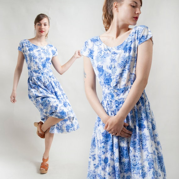 Blue floral button-up midi dress