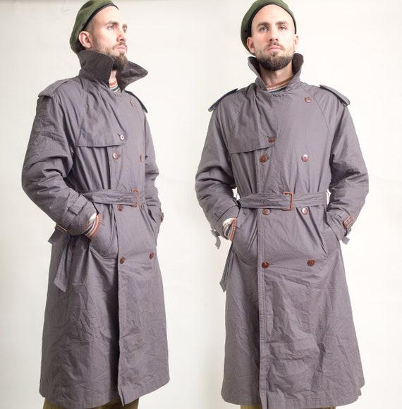 Unisex Dark Brownish-Gray Zipper Trench Coat size Large Vintage 70/'s Duster Coat Detective Rain Coat Topcoat Long Jacket Outerwear