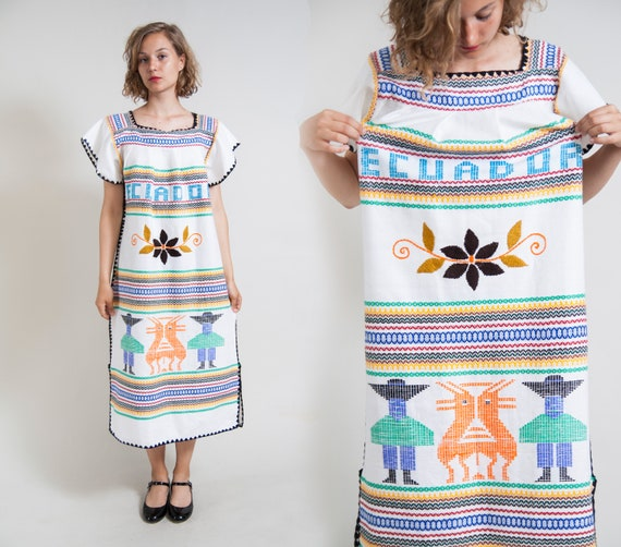 White Woven ornamented ethnic tunic dress/ Embroid