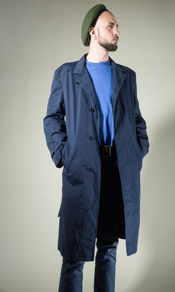 best cheap special buy great variety styles Men Blue Trench Coat . Vintage 80s/90s Duster Coat Mac Coat Detective Rain  Coat Topcoat Long Jacket Outerwear . size Large M to L