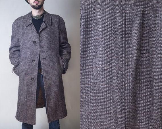 Herren Jacke Mantel WolleWinter braun aus grau Schottische Mantel Herren Mantel L Mantel Jacke Mantel Jahre Vintage Größe Muster 60er lange Winter MUSpzV