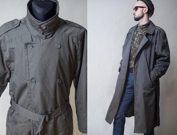 Men Oversize Khaki Trench Coat, Oversized Trench Coat Mens