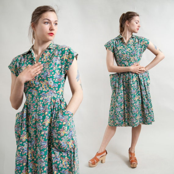 Real 50s housewife green shirtdress with pockets
