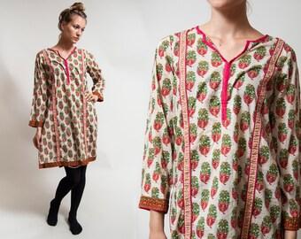 Semi Sheer Cotton Gauze Tunic / Paisley print Indian shirt / Bollywood dress / Hippy BOHO / size Medium - Large