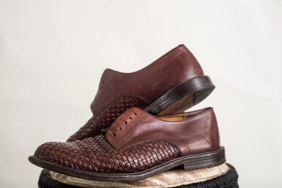 Lace Up Shoes | Leather Woven Oxford Shoes, Brown
