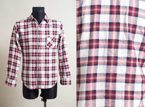 Gray Checked Flannel Shirt  Men/'s chest pocket shirt  Buttoned up shirt  Board Grunge Gentleman Bearded man Woodcutter shirt size L
