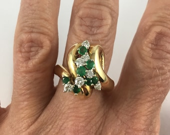 14K Diamond and Emerald ring, cocktail ring, right hand ring, engagement ring, size 8 3/4, statement ring, vintage
