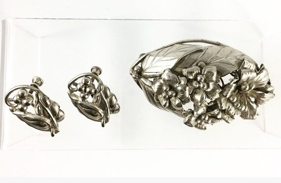 Hobe Sterling silver vintage brooch and matching e