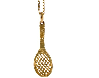 10K Gold Tennis racquet pendant or charm, 3 cm x 1 cm, tennis, love, tennis lover