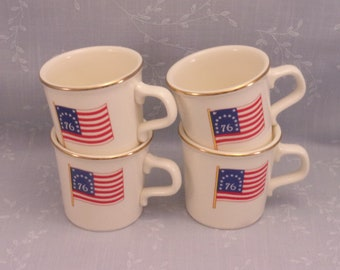 4 Patriotic Vintage Mugs w 13 Stars & Stripes on American Flag and Gold Rim for 1976 USA Bicentennial Holiday. Taylor International. sjwao