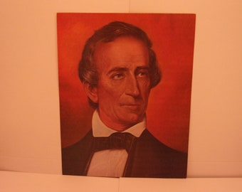 1970s Portraits of the Presidents. 10th US President John Tyler Vintage Color Poster & Educational Text by Illustrator Sam J Patrick. 10bsd