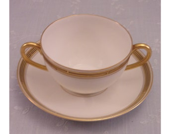 Antique Pickard China. Porcelain Cream Soup Cup & Saucer Set in Decorative Geometric Gold Pattern w 2 Handles on the Bowl. Set C. sjkbo