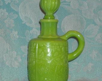Green Milk Glass Small Antique Cruet. Rare Victorian Opaque Challinor & Taylor Tree Of Life Pattern Bottle w Damaged Original Stopper. peha