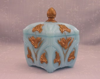 Blue Milk Glass. Portieux Vallerysthal Rare Opaline Turquoise Antique Dresser or Vanity Box with Lid & Lily or Daffodil Floral Design. Sjmao