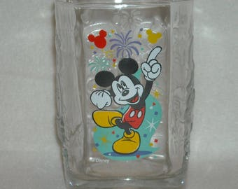 Vintage Drinking Glass. Promo McDonalds & Walt Disney World Millenium Square Clear Tumbler w Mickey Mouse, Dumbo, and Magic Kingdom. qgga