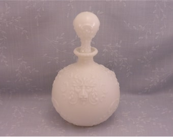 Milk Glass Dresser Antique Decanter w Replaced Stopper. Gillinder Lions Head Vanity, Gargoyle, Lion in the Grass, or Monkey Bottle. rL1a