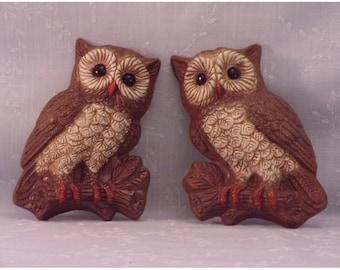 2 Vintage Foam Art Wall Hanging Plaques. Painted Brown Owls w Big Eyes in 3D. Plastic Covered, Molded, Hard, & Lightweight Foam Set. Rbmc