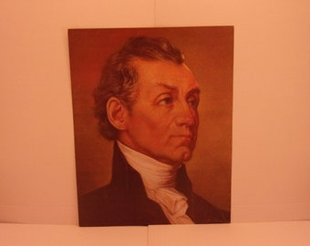 1970s Portraits of the Presidents. 5th USA President James Monroe Vintage Color Poster & Educational Text by Illustrator Sam J Patrick. 5bse