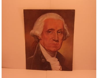 1970s Portraits of the Presidents. 1st President George Washington Vintage Color Poster & Educational Text by Illustrator Sam J Patrick. 1se