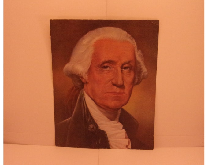 Featured listing image: 1970s Portraits of the Presidents. 1st President George Washington Vintage Color Poster & Educational Text by Illustrator Sam J Patrick. 1se