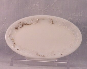 Milk Glass Antique Vanity Tray. Oval Opaline Victorian Dresser Pin or Ring Dish w Scroll, Beading, Fleur de Lis, & Fan Embossed Rim. Rcfb