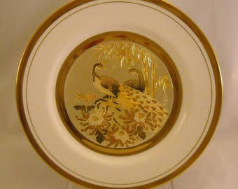 The Art of Chokin Vintage Plate. Rare 10 + Inch Japanese Dish w Peacock Pair, 3 Flowers, Bamboo, 24 KT Gold, & Bone China Porcelain. qdma
