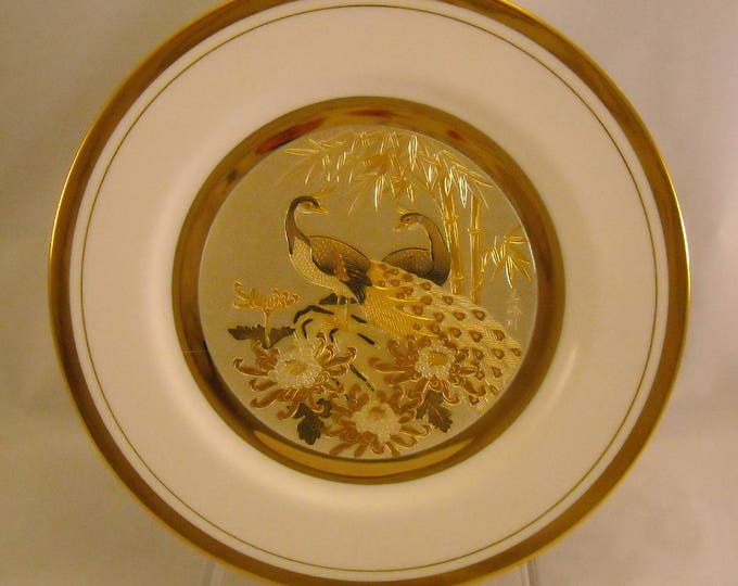 Featured listing image: The Art of Chokin Vintage Plate. Rare 10 + Inch Japanese Dish w Peacock Pair, 3 Flowers, Bamboo, 24 KT Gold, & Bone China Porcelain. qdma