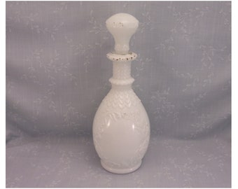 Milk Glass Antique Vanity Decanter. Rare Opal Barber, Bureau, Scent, Boudoir, Cologne, Perfume, or Toiletry Bottle w Original Stopper. Sajb