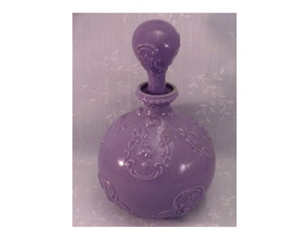 Purple Antique Milk Glass Decanter with Original Stopper. Rare Victorian Gillinder Lavender Colored Dresser, Vanity, or Barber Bottle. Qkra