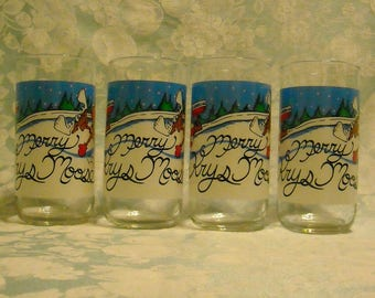 4 Vintage Christmas Glasses. Coca Cola & Fast Food Restaurant Clear Tumblers w Merry Krys Moose, Coke Logo, and Head to Krystal Promo. pita