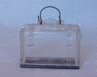 Old Figural Toy Suitcase. Antique Clear Glass Candy Container. Includes Original Wire Bail Handle and Original Tin Slide. Uama ea707