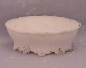 Milk Glass Antique Dresser Box w Lid. Covered Victorian Satin Frosted Oval Opaline Vanity Jar Decorated w Roses, Leaves, & Scrolls. Rgrb
