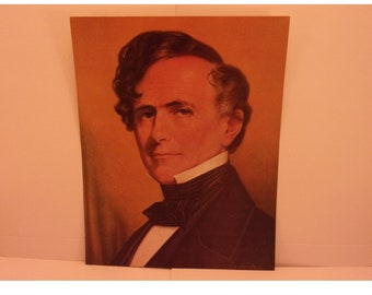 1970s Portraits of the Presidents. 14th President Franklin Pierce Vintage Color Poster & Educational Text by Illustrator Sam Patrick. 14bsd
