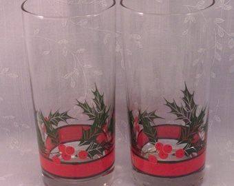 2 Vintage Libbey Crystal Original Holly & Berries Glass Water, Cooler, High Ball, or Iced Tea Tumblers in Discontinued Pattern. Set F. repf