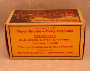 1 Pound Vintage Butter Box. Waxed Cardboard Advertising. Tepco Brand 1 Lb Never Used Food Dairy Container. Morristown, Tennessee TN. Sfbx5
