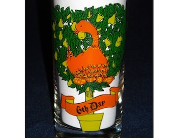 Christmas Tumbler. Vintage 6th Day of Xmas Glass. On the 6th Day of Christmas, My True Love Sent to Me Six Geese a Laying & Partridge. pdmd