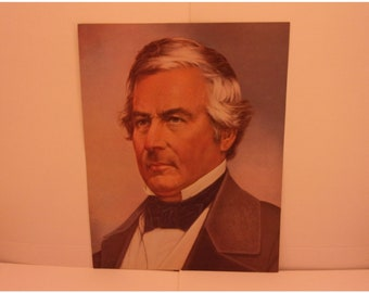 1970s Portraits of the Presidents. 13th President Millard Fillmore Vintage Color Poster and Factual Text by Illustrator Sam J Patrick. 13asd