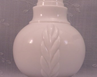 1888 Opaline Milk Glass Jar. Antique Atterbury Woven Panel Mustard Jar or Tea Caddy w Vertical Scrolls & Patent Applied For Mark. rgja